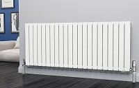 Eastgate Eben White Horizontal Double Panel Flat Tube Designer Radiator 600mm High x 1496mm Wide Electric Only