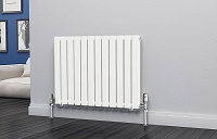 Eastgate Eben White Horizontal Double Panel Flat Tube Designer Radiator 600mm High x 816mm Wide Electric Only