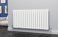 Eastgate Eben White Horizontal Single Panel Flat Tube Designer Radiator 600mm High x 1224mm Wide Electric Only