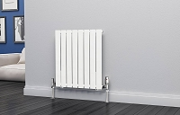 Eastgate Eben White Horizontal Single Panel Flat Tube Designer Radiator 600mm High x 544mm Wide Electric Only