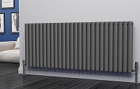 Eastgate Eclipse Anthracite Double Panel Horizontal Designer Radiator 600mm High x 1508mm Wide
