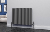 Eastgate Eclipse Anthracite Double Panel Horizontal Designer Radiator 600mm High x 812mm Wide Electric Only