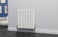 Eastgate Eclipse White Double Panel Horizontal Designer Radiator 600mm High x 580mm Wide