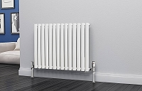 Eastgate Eclipse White Single Panel Horizontal Designer Radiator 600mm High x 812mm Wide