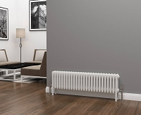Eastgate Lazarus 4 Column White Horizontal Radiator 300mm High x 1164mm Wide