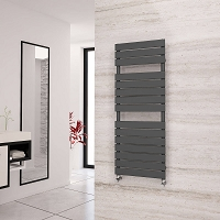 Eastgate Liso Anthracite Flat Tube Designer Heated Towel Rail 1292mm High x 500mm Wide Electric Only