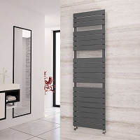 Eastgate Liso Anthracite Flat Tube Designer Heated Towel Rail 1748mm High x 500mm Wide