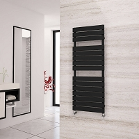 Eastgate Liso Black Flat Tube Designer Heated Towel Rail 1290mm High x 500mm Wide Electric Only