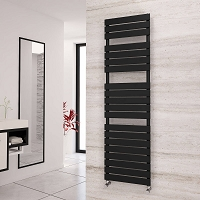 Eastgate Liso Black Flat Tube Designer Heated Towel Rail 1748mm High x 500mm Wide Electric Only
