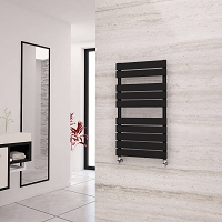 Eastgate Liso Black Flat Tube Designer Heated Towel Rail 912mm High x 500mm Wide Electric Only