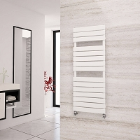 Eastgate Liso White Flat Tube Designer Heated Towel Rail 1290mm High x 500mm Wide Electric Only