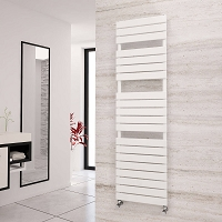 Eastgate Liso White Flat Tube Designer Heated Towel Rail 1748mm High x 500mm Wide Electric Only