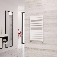 Eastgate Liso White Flat Tube Heated Towel Rail 912mm High x 500mm Wide Electric Only