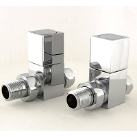 Eastgate Square Chrome Straight Radiator Valves (1 pair)