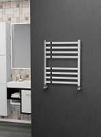 Eastgate Square Tube Stainless Steel Heated Towel Rail 600mm High x 500mm Wide