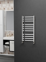 Eastgate Square Tube Stainless Steel Heated Towel Rail 800mm High x 400mm Wide