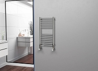 Eastgate Straight Polished 304 Stainless Steel Heated Towel Rail 800mm High x 400mm Wide