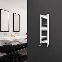 Eastgate White Curved Heated Towel Rail 1000mm High x 300mm Wide Electric Only