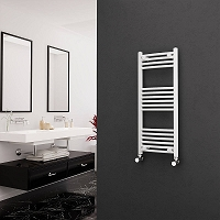 Eastgate White Curved Heated Towel Rail 1000mm High x 400mm Wide