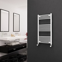 Eastgate White Curved Heated Towel Rail 1000mm High x 500mm Wide Electric Only