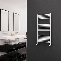 Eastgate White Curved Heated Towel Rail 1000mm High x 500mm Wide