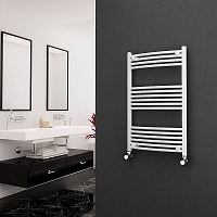 Eastgate White Curved Heated Towel Rail 1000mm High x 600mm Wide