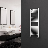 Eastgate White Curved Heated Towel Rail 1200mm High x 400mm Wide Electric Only