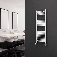 Eastgate White Curved Heated Towel Rail 1200mm High x 400mm Wide