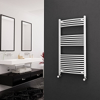 Eastgate White Curved Heated Towel Rail 1200mm High x 600mm Wide Electric Only