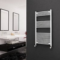 Eastgate White Curved Heated Towel Rail 1200mm High x 600mm Wide