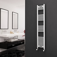Eastgate White Curved Heated Towel Rail 1600mm High x 300mm Wide Electric Only