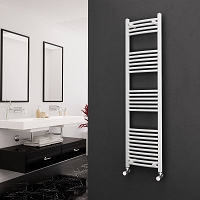 Eastgate White Curved Heated Towel Rail 1600mm High x 400mm Wide Electric Only
