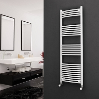 Eastgate White Curved Heated Towel Rail 1600mm High x 500mm Wide Electric Only