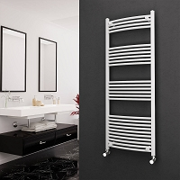 Eastgate White Curved Heated Towel Rail 1600mm High x 600mm Wide Electric Only