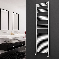Eastgate White Curved Heated Towel Rail 1800mm High x 500mm Wide