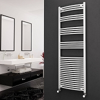 Eastgate White Curved Heated Towel Rail 1800mm High x 600mm Wide Electric Only