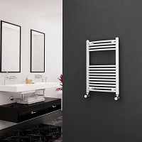 Eastgate White Curved Heated Towel Rail 800mm High x 500mm Wide Electric Only