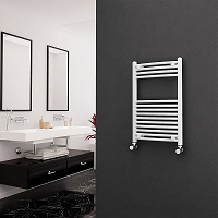 Eastgate White Curved Heated Towel Rail 800mm High x 500mm Wide