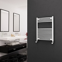 Eastgate White Curved Heated Towel Rail 800mm High x 600mm Wide Electric Only