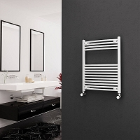 Eastgate White Curved Heated Towel Rail 800mm High x 600mm Wide