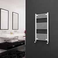 Eastgate White Straight Heated Towel Rail 1000mm High x 500mm Wide
