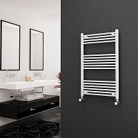Eastgate White Straight Heated Towel Rail 1000mm High x 600mm Wide