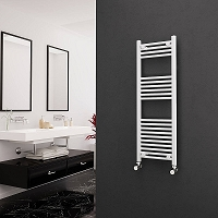 Eastgate White Straight Heated Towel Rail 1200mm High x 400mm Wide