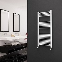 Eastgate White Straight Heated Towel Rail 1200mm High x 500mm Wide