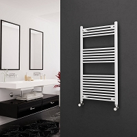 Eastgate White Straight Heated Towel Rail 1200mm High x 600mm Wide Electric Only