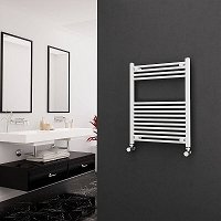 Eastgate White Straight Heated Towel Rail 800mm High x 600mm Wide