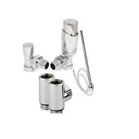 Eastgate Dual Fuel Kit 2 - 1 x Pair Thermostatic Chrome Angled Valves, 1 x Pair T Pieces, 1 x Standard Element