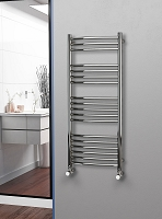 Eastgate Curved Polished 304 Stainless Steel Heated Towel Rail 1200mm High x 500mm Wide
