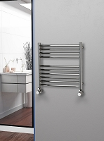 Eastgate Curved Polished 304 Stainless Steel Heated Towel Rail 600mm High x 600mm Wide