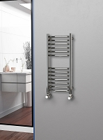 Eastgate Curved Polished 304 Stainless Steel Heated Towel Rail 800mm High x 350mm Wide